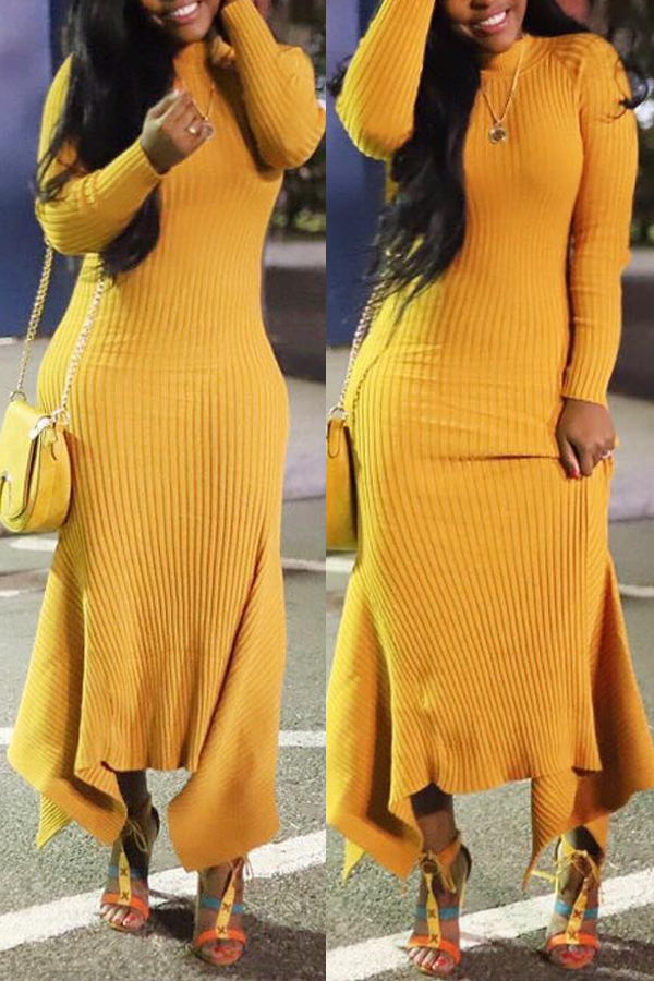 Lovely Casual Long Sleeves Yellow Ankle Length Dress