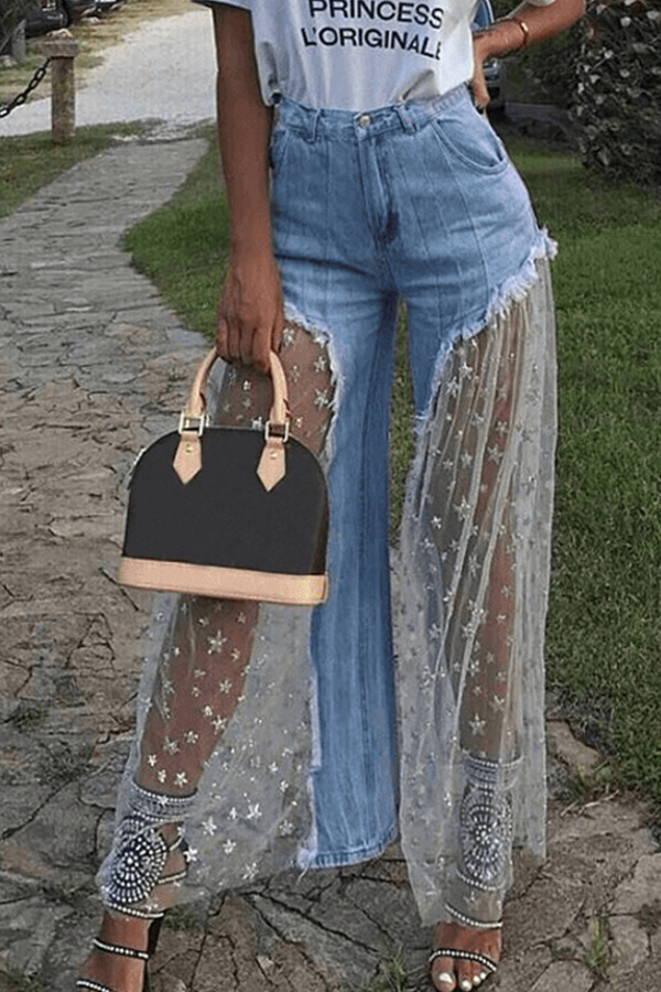 Lovely Sweet Patchwork Baby Blue Denim Jeans