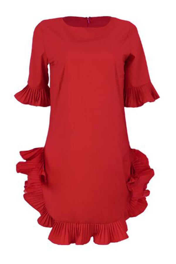 Mini Vestido Con Mezcla De Volantes Y Diseño Dulce Encantador