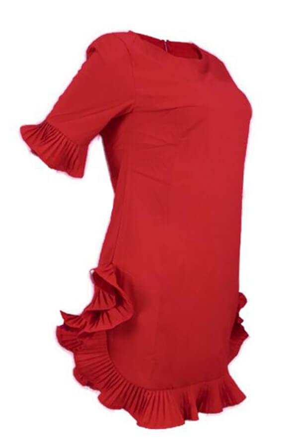 Lovely Sweet Ruffle Design Red Blending Mini Dress