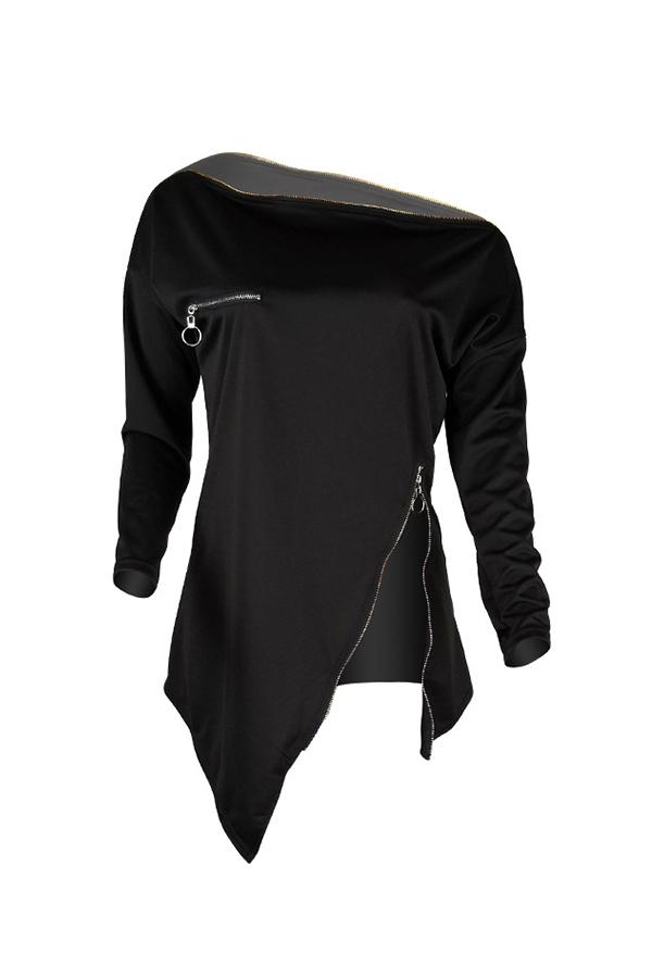 Cremallera Irregular Casual Encantador Negro Con Capucha