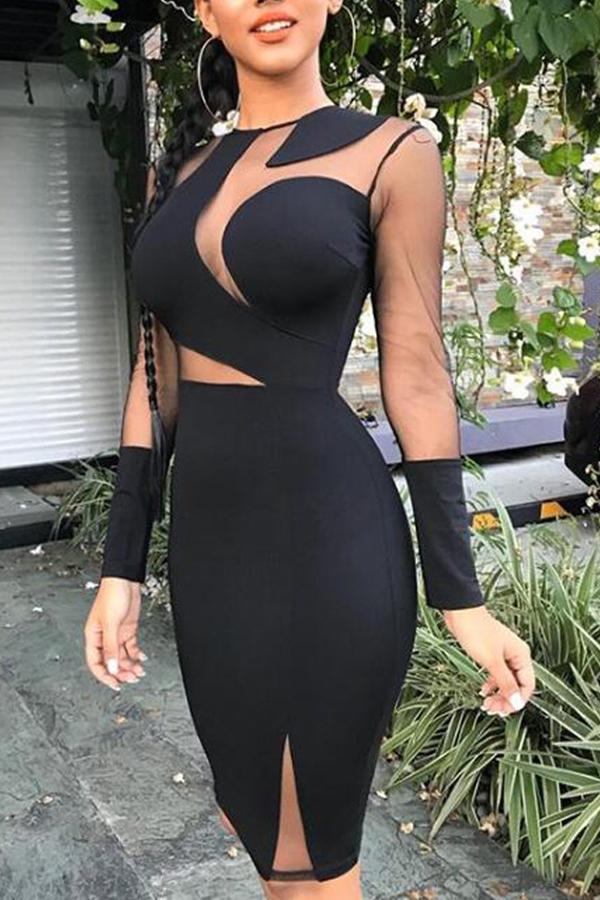 Lovely Sexy Gauze Patchwork Black Knitting Knee Length Sheath Dress
