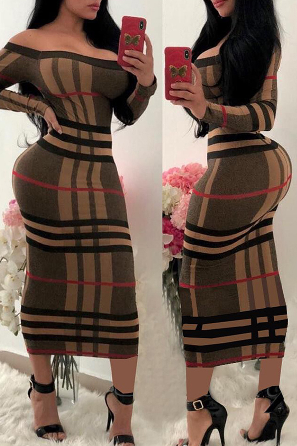 Lovely Fashion Striped Printed Brown Mid Calf Dress