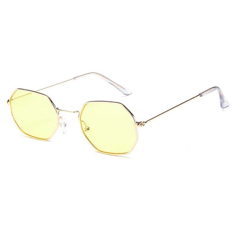 Schöne Retro Sonnenbrille Mit Gestell Aus Gelbem Metall