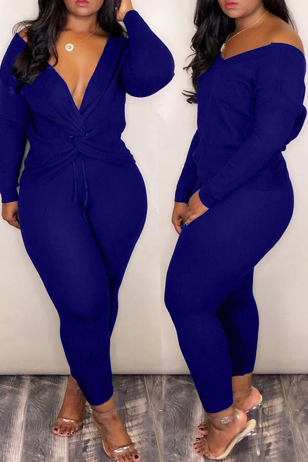 Lovely Casual Cross-over Design  Deep Blue Two-piece Pants Set