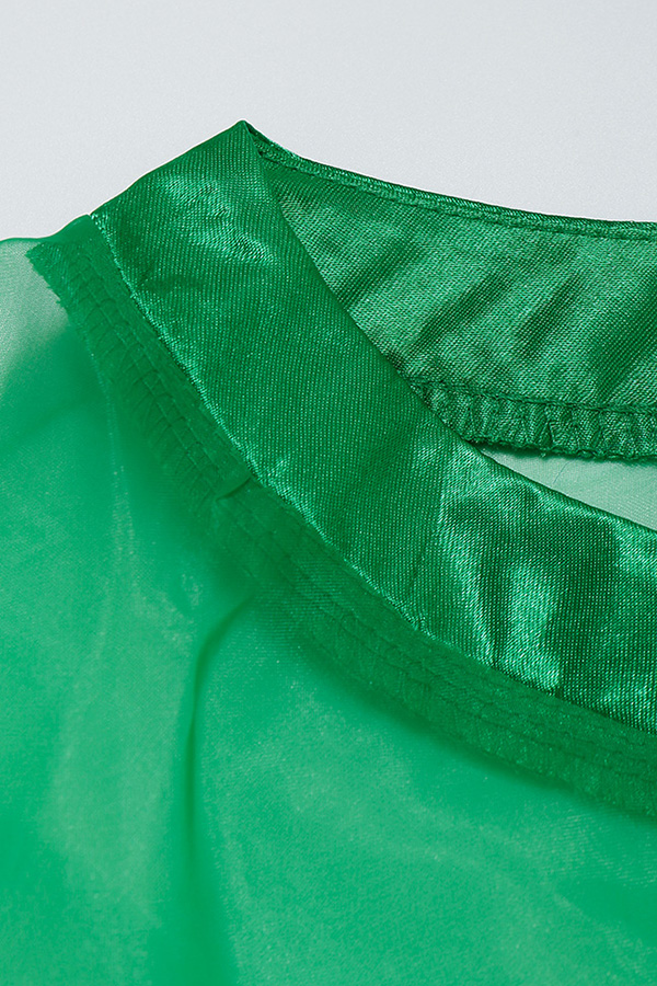 Lovely Sweet Lantern Sleeves See-Through Green Shirts