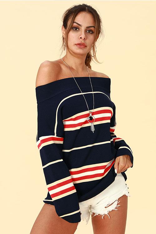 Lovely Trendy  Dew Shoulder Deep Blue Acrylic  Sweaters