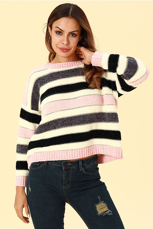 Lovely Trendy Striped Pink Sweaters