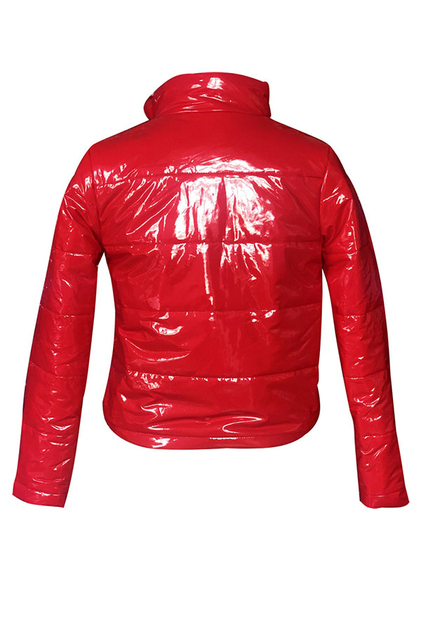 Precioso Diseño De Cremallera Casual, Abrigo Rojo De Parkas.