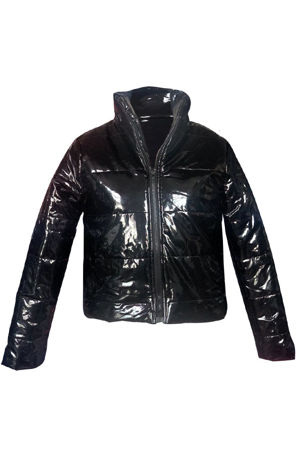 Lovely Casual Zipper Design Black Parkas