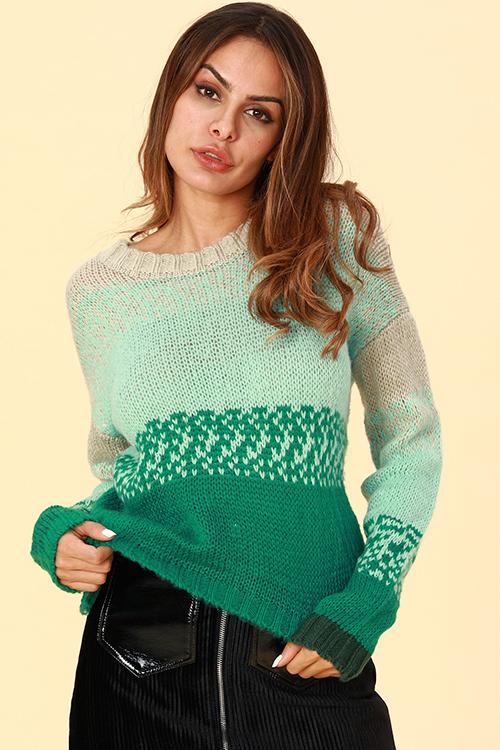 Lovely Casual Gradual Change Green Sweaters