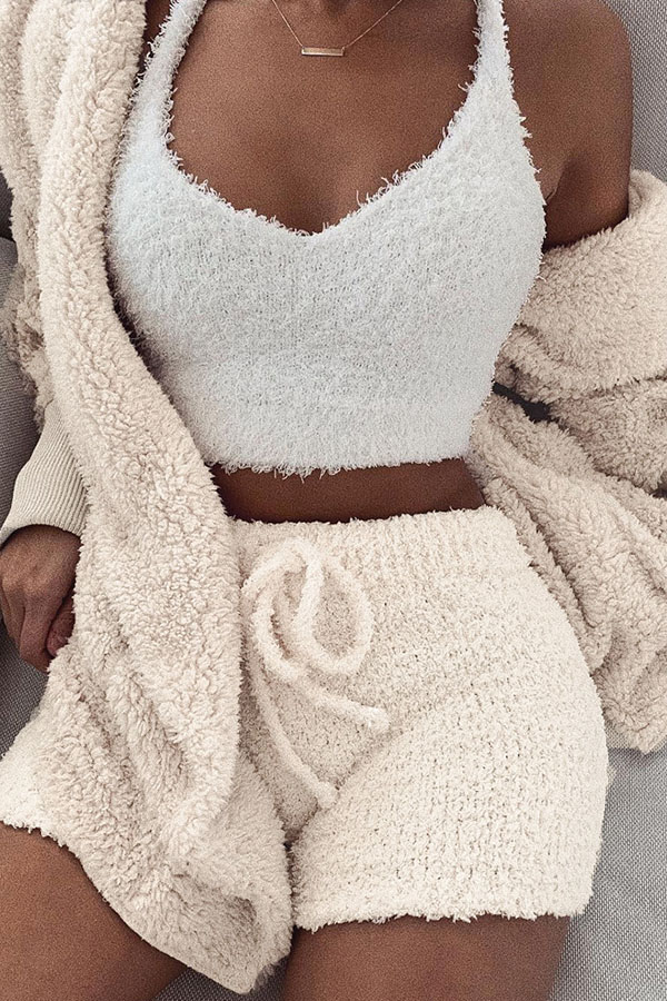 Lovely Casual  Hooded Collar Creamy White Two-piece Shorts Set(Without Belt)