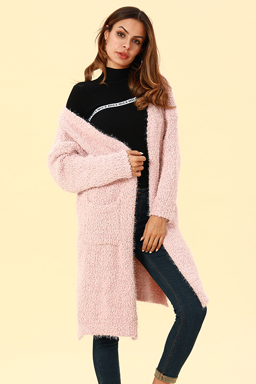 Lovely Casual Pockets Pink Blending Cardigan Sweaters