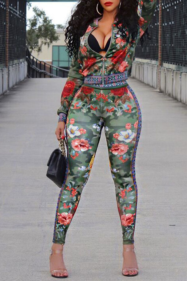 Lovely Casual Printed Multicolor Cotton Blends Two-piece Pants Set(Non Positioning Printing)