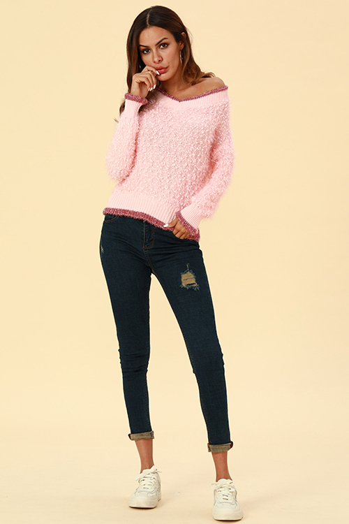 Lovely Casual Patchwork Pink  Sweaters