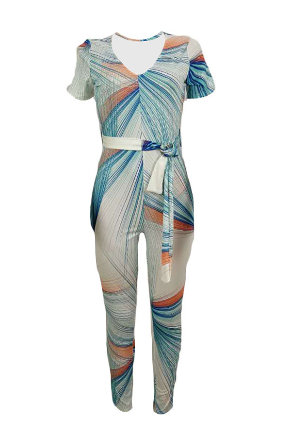Lovely Leisure Print Skinny White One-piece Jumpsuit