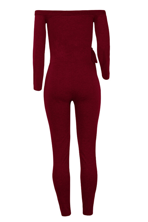 c8576e2c5 Lovely Trendy Dew Shoulder Skinny Wine Red Cotton One-piece ...