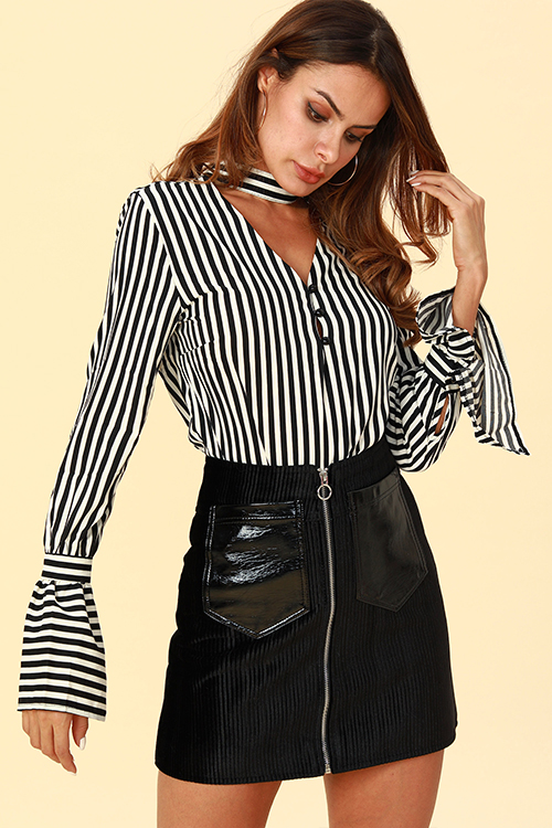 Lovely Chic Striped Black  Blouses