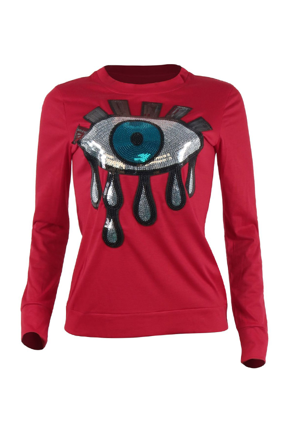 Lovely Trendy Sequined Decorative Red T-shirt