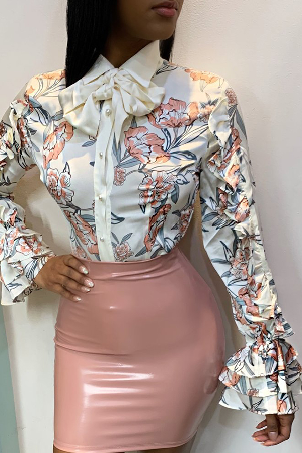 Lovely Chic Flounce Design White Blouses