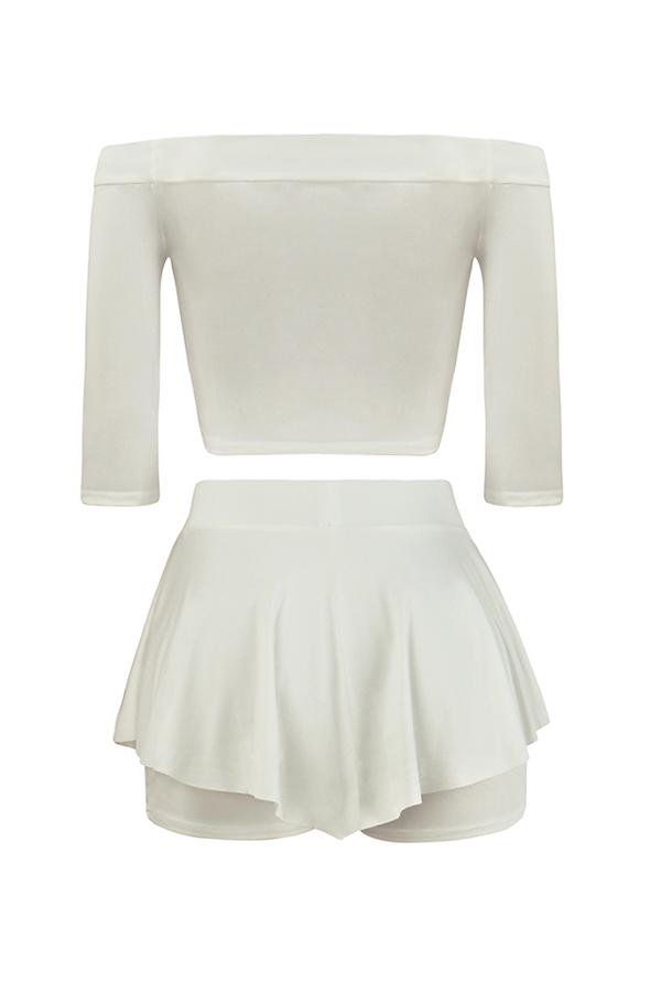 Lovely Stylish Dew Shoulder Half Sleeves Patchwork White Milk Fiber Two-piece Shorts Set