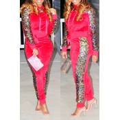 Lovely Casual Sequined Decorative Red Two-piece Pants Set
