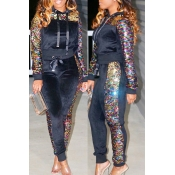 Lovely Casual Sequined Decorative Black Two-piece