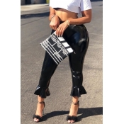 Lovely Fashionable Mid Waist Black PU Bell Bottoms