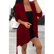 Lovely Casual Irregular Red  Coats