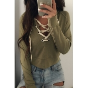 Lovely Casual Lace-up Hollow-out Army Green Cotton