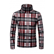 Lovely Fashionable Plaids Long Sleeves Red Sweater