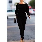 Lovely Trendy Pockets Black Blending Two-piece Pants Set