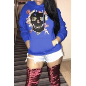 Lovely Casual Printed Blue Cotton Hoodies