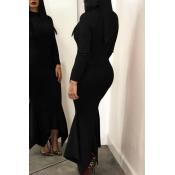 Lovely Casual Long Sleeves Black Ankle Length Dress