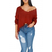 Lovely Casual Torn Edges Wine Red Blending Short S