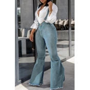 Lovely Casual Flared Light Blue Denim Jeans