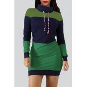 Lovely Euramerican Patchwork Green Mini Dress