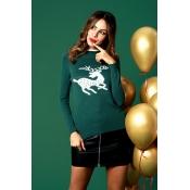Lovely Casual Elk Pattern Green Cotton Blends Swea