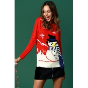 Lovely Fashion Snowman Pattern Red Cotton Sweaters