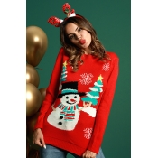 Lovely Fashion Long Sleeves Snowman Pattern Red Co