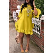 Lovely Sweet Ruffle Design Yellow Blending Mini Dr