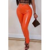 Pantalones De PU De Color Naranja De Moda Encantadora
