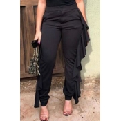 Lovely Casual Flounce Design Black Twilled Satin P