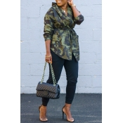 Lovely Casual Camouflage Printed Asymmetrical Coat