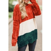 Lovely Fashionable Long Sleeve Multicolor Splicing