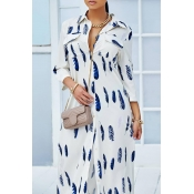 Lovely Fashion Long Sleeves Printed White Ankle Le