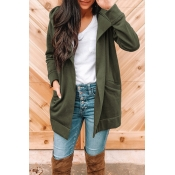 Lovely Casual Long Sleeves Army Green Cotton Blend