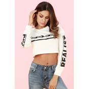 Lovely Casual Letters Printed White Short Hoodies