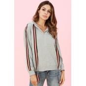 Lovely Casual Long Sleeves Striped Grey Hoodies