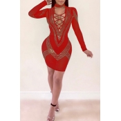 Lovely Sexy Lace-up Hollow-out Red Knitting Knee L